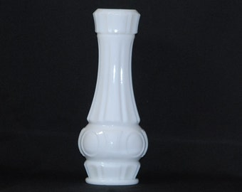 Vintage White Milk Glass Vase, Large Thumbprint or Medallion Art Deco Vase, White Milk Glass Floral Vase, White Vase, Flower Vase, Glass