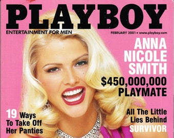 Playboy Magazine February 2001 with Anna Nicole Smith, Lauren Michelle Hill, Vince McMahon, Sela Ward, Surfer Girl, Amy Cobb