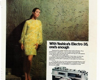 Vintage Yashica Electro 35 Camera, 35mm Camera, Original Magazine Advertisement 1960