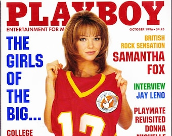 Vintage Playboy Magazine October 1996 With Samantha Fox, Jay Leno, Donna Mechelle, Pigskin Preview, The British And Barbie Benton