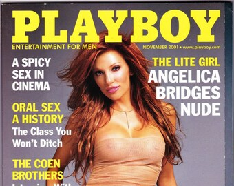 Playboy Magazine November 2001 with Miller Lite model Angelica Bridges, Miss November, Joel & Ethan Coen, Comic Will Ferrell