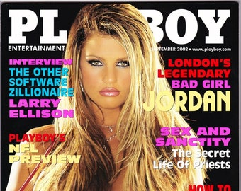 Playboy Magazine September 2002 With Britain's Bad Girl Jordan, Shallan Meiers, Oracle's Larry Ellison and Singer Lenny Kravitz