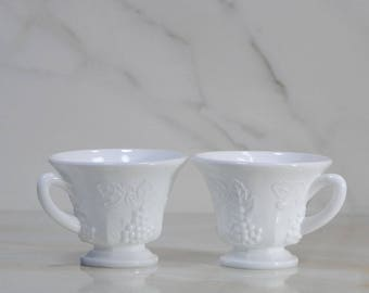 Vintage Indiana Glass Milk Glass Tea Cups 1940s