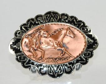 "New Copper Belt Buckle 2 Running Horses 4"" x 3"""