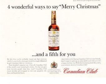 Vintage Original Magazine Print Art, Canadian Club Whisky, 1964 Print Advertisement