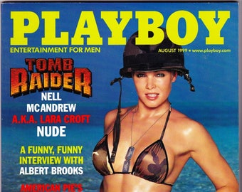 Vintage Playboy Magazine August 1999 with Nell McAndrew, Scott Free, Albert Brooks, Lucy Liu, Shannon Elizabeth