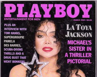 Vintage Playboy Magazine March 1989 with LaToya Jackson, Tom Hanks, Pamela Des Barres, Michael Jackson