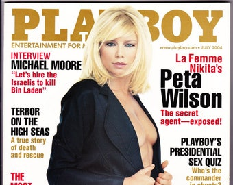 Playboy Magazine July 2004 with Peta Wilson, La Femme Nikita, Michael Moore, Christina Applegate, Kelly Bundy