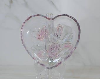 Vintage Heart Shaped Crystal Dish, Mikasa 'Rose Pearls', Glass Heart Shaped Bowl, Candy Dish, Floral Trinket Dish, Vanity Tray, Heart Dish