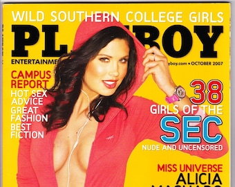 Playboy Magazine October 2007 With Scott Free, Keith Olbermann, Giuliana Marino, Ali Larter, Queen Alicia, Amber Lee Ettinger and Girls SEC