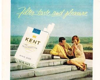 Vintage Original Magazine Print Art, Kent Cigarettes, 1964, King Size, Print Advertisement