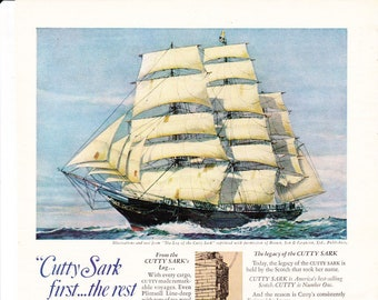 Vintage Cutty Sark Original Magazine Advertisement 1969