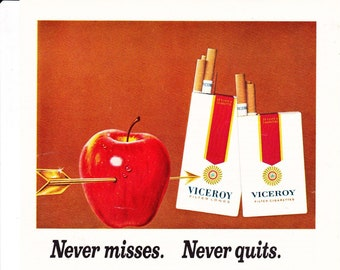 Vintage Viceroy Filtered Cigarettes, Tobacco, Original Magazine Advertisement 1969