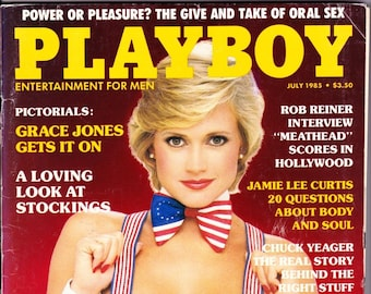 Vintage Playboy Magazine July 1985 with Grace Jones, Rob Reiner, Meathead, Jamie Lee Curtis, Chuck Yeager