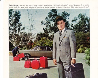 Vintage Bob Hope, American Tourister Luggage, Comedian, Original Magazine Advertisement 1969