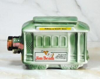 Vintage Jim Beam Decanter, San Francisco Cable Car, Decanter, Powell & Mason Streets, US Internal Revenue Stamp, Genuine Regal China