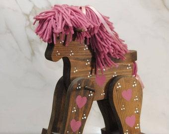 Vintage Rocking Horse, Handcrafted Solid Wood Doll Size Rocking Chair, Handcrafted Horse, Solid Wood Toy, Kids Rocking Chair, Kids Chair