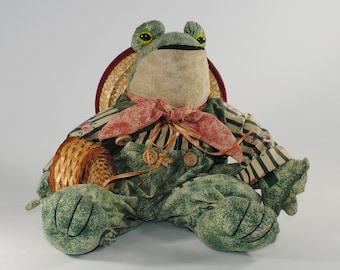 Vintage Cloth Green Frog Shelf Sitter by My Collection Ltd from the 1990s
