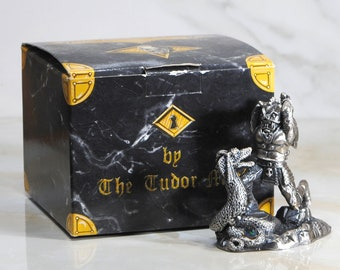 Vintage Fantasy Figurine, Myth and Magic Pewter Statue from Tudor Mint, The Demon Slayer