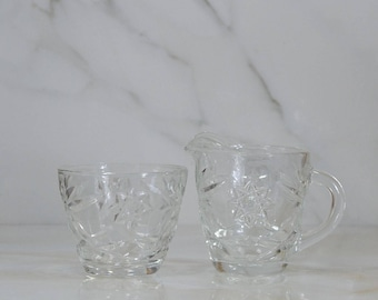 Vintage EAPG Glass Sugar Bowl and Creamer Set, Prescut Glass, Anchor Hocking in Star of David Glass Pattern, Small Pitcher, Sugar Holder