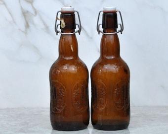Vintage Holland Grolsch, Florida Premium Lager, Dark Beer, Dark Amber Bottle, Porcelain SwingTop, Set Of 2, Lager Beer, 1 Pint, Import Beer