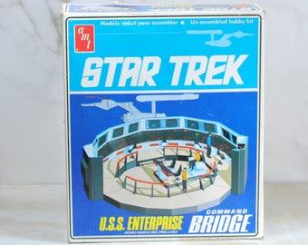 Vintage Star Trek USS Enterprise Command Bridge Model Kit, 1975, The Original Series, AMT, S950, Complete With Instructions And Decals
