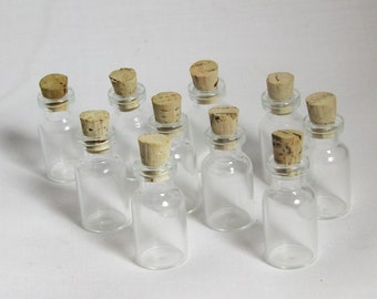 50 Miniature Bottles used for Crafting, Steampunk, Art Projects, Science Projects