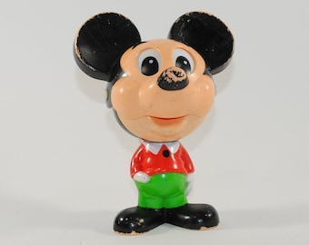Vintage Pull String Talking Mickey Mouse Bobble Head Plastic Figure Made in 1976