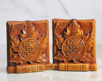 Vintage Wooden Bookends, He Careth For You, Canada Maple Leaf, 1980s