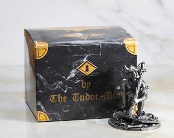 Vintage Fantasy Figurine, Myth and Magic Pewter Statue from Tudor Mint, Pewter Demon, Demon Warrior, The Demon Jailer