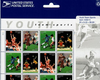 Vintage Postage Stamps Youth Team Sports Stamp Sheet 20 33 cent stamps, Scott 3339-3402