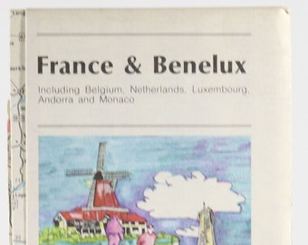 Vintage AAA Guide to France & Benelux 1980s Map