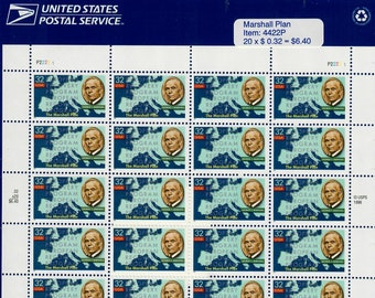 Vintage Postage Stamps Marshall Plan Stamp Sheet 20 32 cent stamps, Scott 3141, 1997