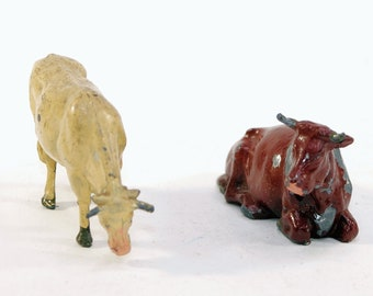 Vintage Barclay Manoil Lead Type Figures, Cow and Bull, 1950s