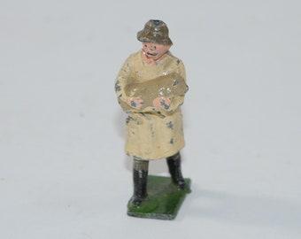 Vintage Johillco Lead Figure, Farmer holding a lamb, Made in England 1950s