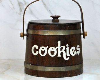 Vintage Wooden Bucket Cookie Jar or Biscuit Jar