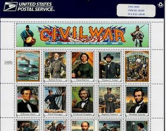 Vintage Postage Stamps Civil War Stamp Sheet 20 32 cent stamps, Scott 2975, 1995