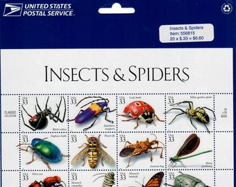 Vintage Postage Stamps Insects & Spiders Stamp Sheet 20 33 cent stamps, Scott 3351, 1999
