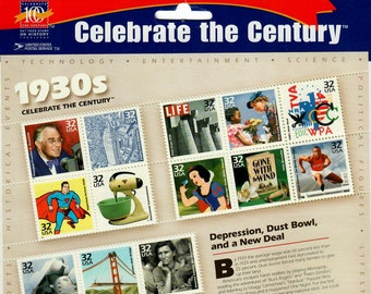 Vintage Postage Stamps Celebrate the Century 1930s Stamp Sheet 15 32 cent stamps, Scott 3185, 1998