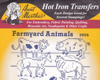 Vintage Aunt Martha's, Hot Iron, Transfers, Farmyard Animals 3906, Embroidery, Sewing, winterparkcollect