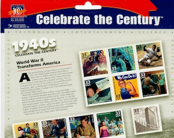 Vintage Postage Stamps Celebrate the Century 1940s Stamp Sheet 15 32 cent stamps, Scott 3186, 1999