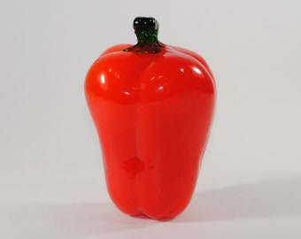 Vintage Murano Style Hand Blown Glass 1970s Red Pepper