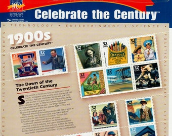 Vintage Postage Stamps Celebrate the Century 1900s Stamp Sheet 15 32 cent stamps, Scott 3182, 1998