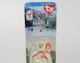 Vintage Maple The Bear 1996 McDonalds Ty Beanie Baby Birth Date July 1 1996 with Errors