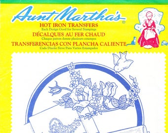 Vintage Aunt Martha's Hot Iron Transfers 3268, Three Pillowslip Motifs