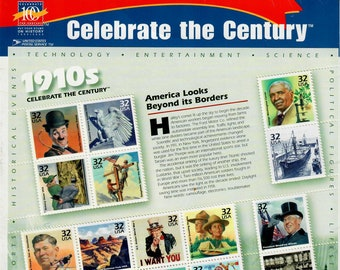 Vintage Postage Stamps Celebrate the Century 1910s Stamp Sheet 15 32 cent stamps, Scott 3183, 1998