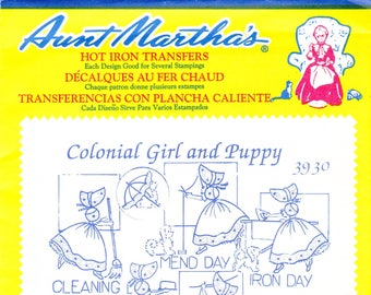 Vintage Aunt Martha's Hot Iron Transfers 3930, Colonial Girl And Puppy