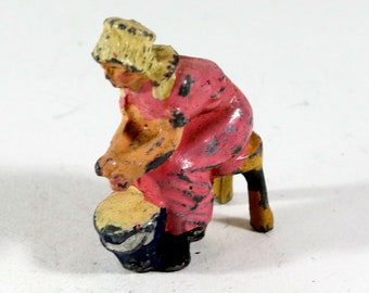 Vintage Barclay Manoil Lead Figure, Woman Churning Butter, 1950s