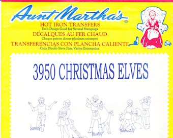 Vintage Aunt Martha's Hot Iron Transfers 3950, Christmas Elves