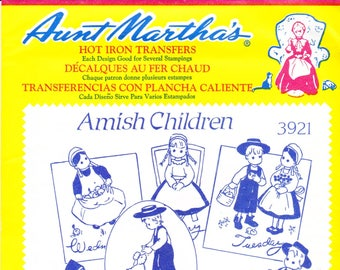 Vintage Aunt Martha's Hot Iron Transfers 3921, Amish Children